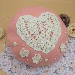 Pink Heart Beret