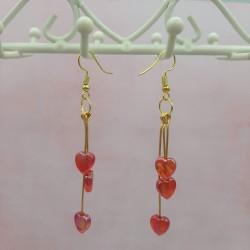 Boucles d'oreilles cœur rouge