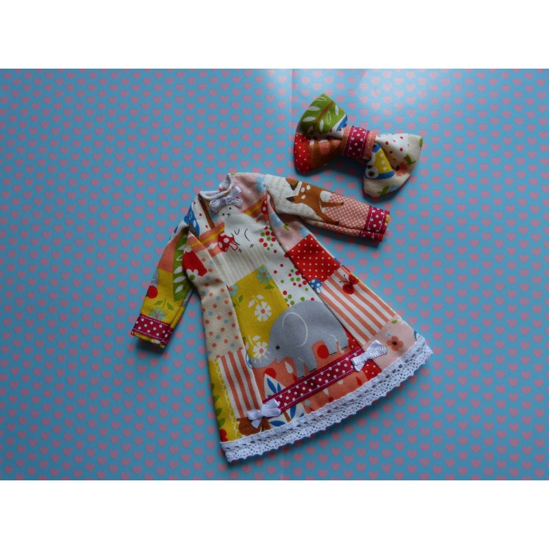 "Robe + Barrette ""Patchwork animaux"""