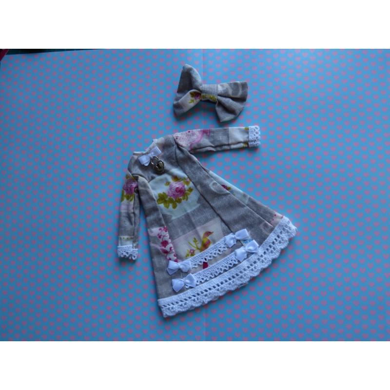 "Robe + Barrette ""Grise fleurs"""