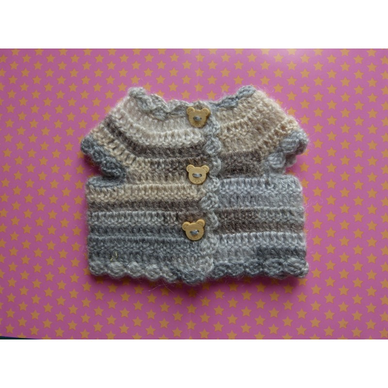 Pull crochet Animator gris marron