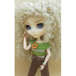 Crochet Pullip green pull-over