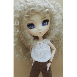 Crochet Pullip white pull-over